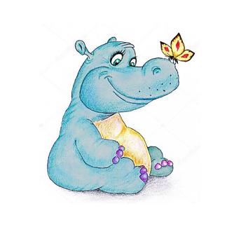 Постер Смешной бегемот и бабочка