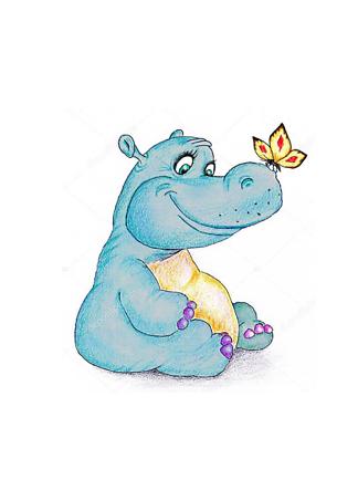 Постер Смешной бегемот и бабочка  - фото