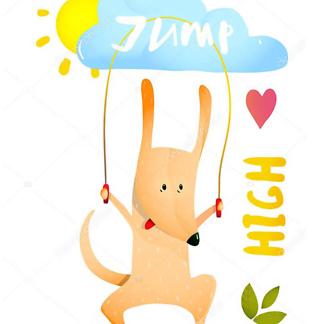 Постер Собака прыгает на скакалке