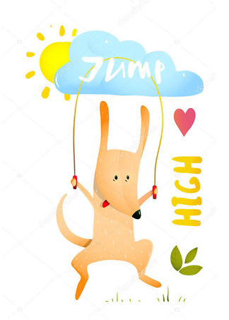 Постер Собака прыгает на скакалке  - фото