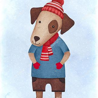 Постер Собака в шапочке