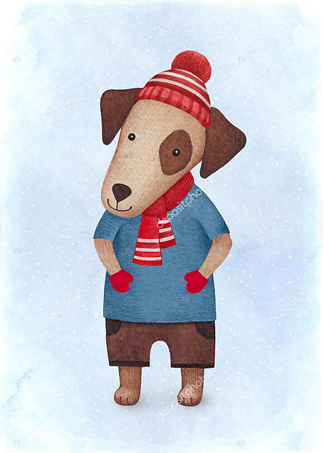 Постер Собака в шапочке  - фото