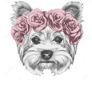 Постер Собака в венке из роз