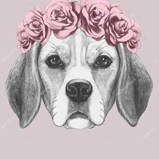 Постер Собака в венке на розовом фоне