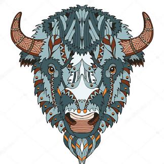 Постер Стилизованная голова бизона