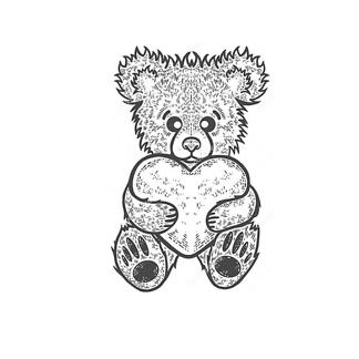 Медведь с балалайкой чб