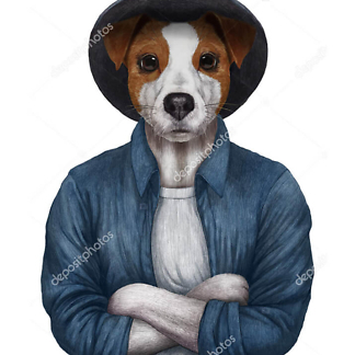 Постер Терьер в шляпе