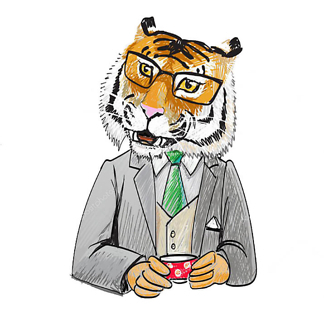 Постер Тигр за чашечкой кофе