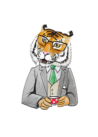 Постер Тигр за чашечкой кофе  - фото