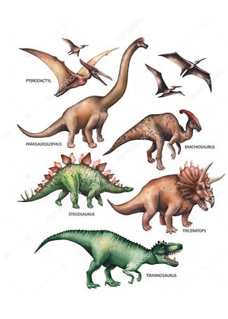 Постер Травоядные и хищные динозавры  - фото