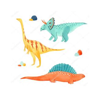 Три акварельных динозавра