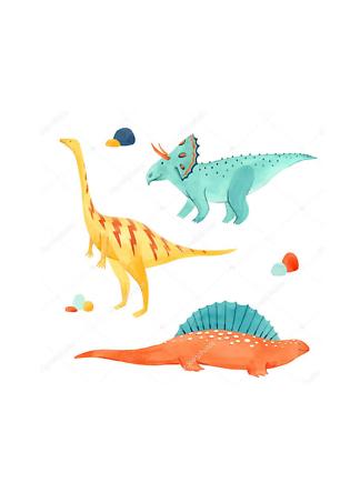 Постер Три акварельных динозавра  - фото