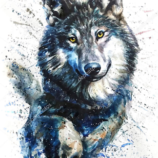 Постер Волк бежит акварель