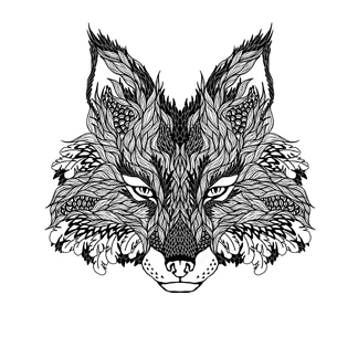Постер Волк с горным пейзажем
