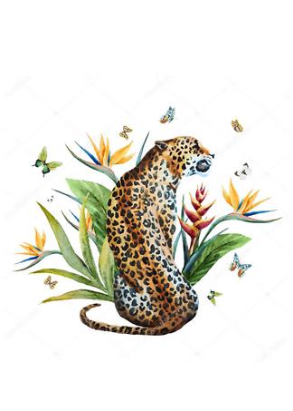 Постер Ягуар и бабочки  - фото