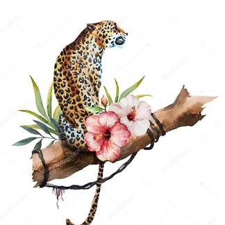 Постер Ягуар и бабочки