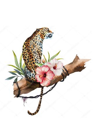 Постер Ягуар на ветке  - фото