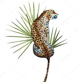 Постер Ягуар с листом пальмы