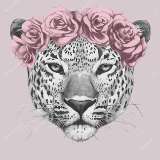 Постер Ягуар в цветах