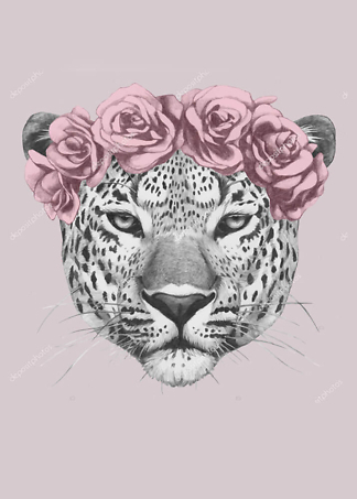 Постер Ягуар в цветах  - фото