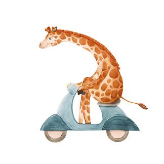 Постер Жираф на мопеде