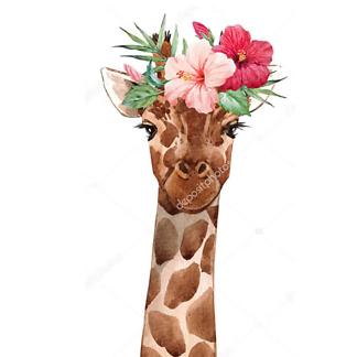 Постер Жираф с цветком