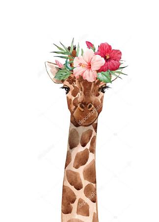 Постер Жираф с цветком  - фото