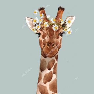 Постер Жираф с цветком на голубом фоне