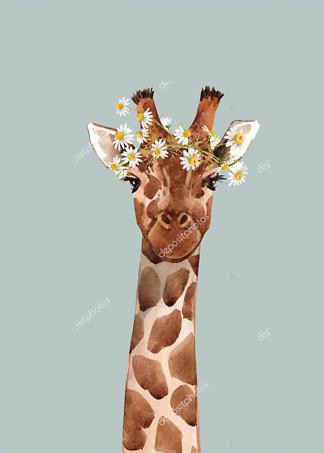 Постер Жираф с цветком на голубом фоне  - фото