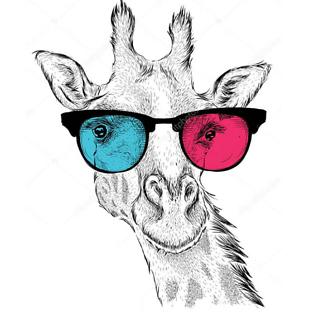 Постер Жираф в разноцветных очках