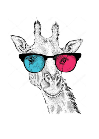Постер Жираф в разноцветных очках  - фото