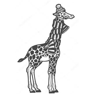Постер Жираф в шарфе