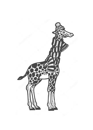 Постер Жираф в шарфе  - фото
