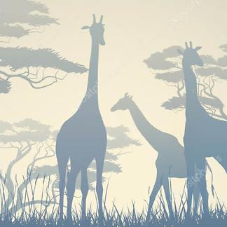 Постер Жираф в круглых очках