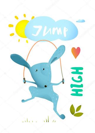 Постер Заяц прыгает на скакалке  - фото