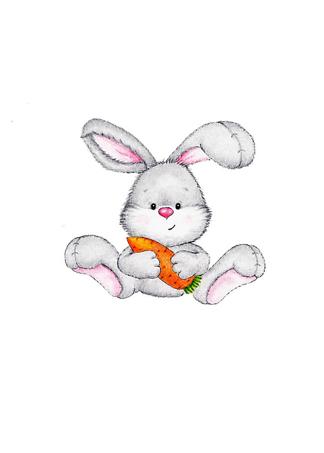Постер Заяц с морковкой  - фото