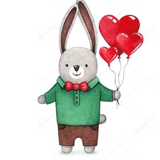 Постер Заяц с шариками-сердцами