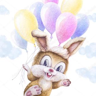 Заяц с шариками в облаках