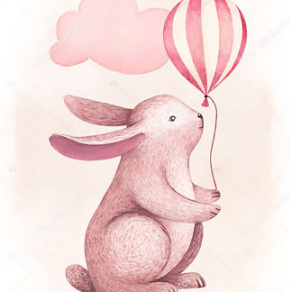 Постер Заяц с шариком