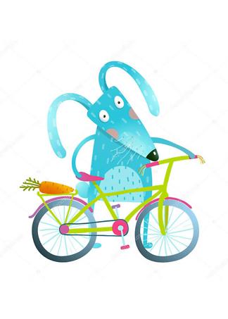 Постер Заяц с велосипедом  - фото