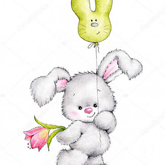Заяц с зеленым шариком