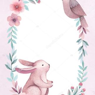 Постер Заяц в цветах