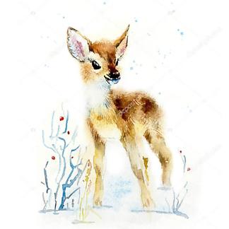 Постер Зимний олененок