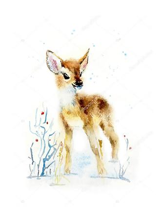 Постер Зимний олененок  - фото