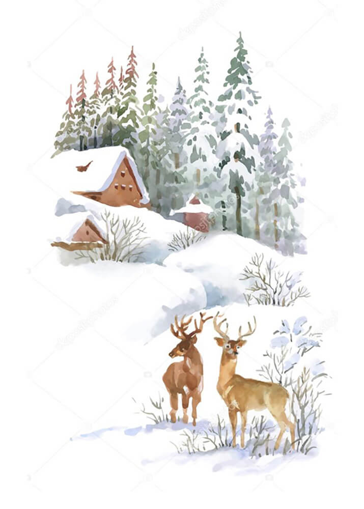 Постер Зимний пейзаж с оленями  - фото