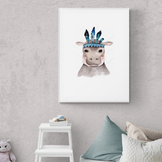 Постер Акварельный бегемот  - фото 2