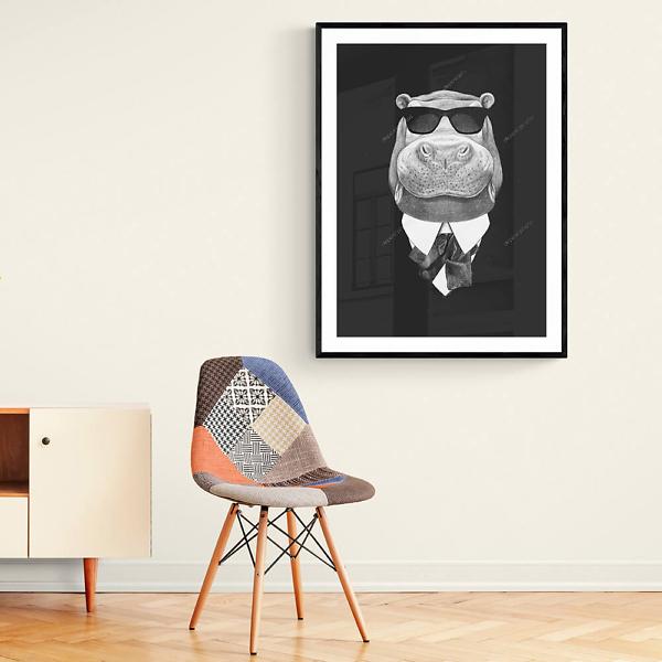 Портрет бегемота в костюме и очках  - фото 2
