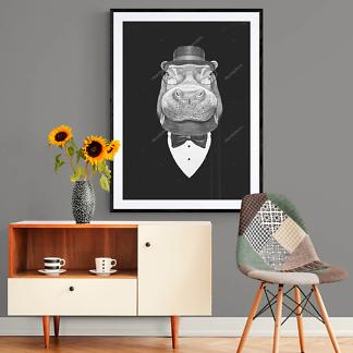 Портрет бегемота в костюме  - фото 2