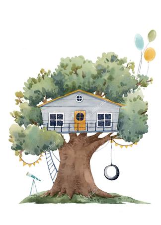 Постер Серый домик на дереве  - фото