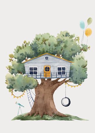 Постер Серый домик на дереве  на бежевом фоне  - фото
